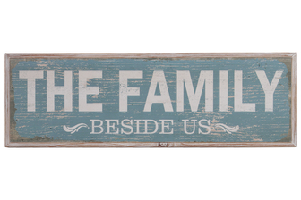 "UTC39627 Wood Rectangle Wall Art with White Printed ""The Family Beside Us"" Writing and 2 Small Metal Back Sawtooth Hangers Washed Finish Brown"
