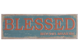 "UTC39628 Wood Rectangle Wall Art with Red Printed ""Blessed Beyond Measure"" Writing and 2 Small Metal Back Sawtooth Hangers Washed Finish Brown"