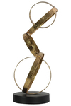 UTC39633 Metal Cascading Circles Abstract Sculpture with Round Base Metallic Finish Gold