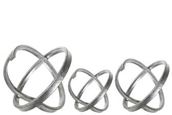 UTC39645 Metal Round Abstract Sculpture Set of Three Metallic Finish Gunmetal Silver
