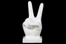 "UTC39700 Ceramic ""Peace"" Hand Sign Tabletop Decor on Base LG Gloss Finish White"
