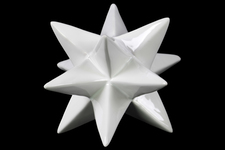UTC39706 Ceramic Stellated Icosahedron Sculpture LG Gloss Finish White