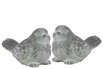 UTC39708-AST Cement Bird Figurine Assortment of Two Washed Concrete Finish White