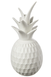 UTC39778 Ceramic Pineapple Figurine with Crown and Octagon Illusion Design Body Gloss Finish White