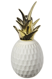 UTC39779 Ceramic Pineapple Figurine with Crown and Octagon Illusion Design Body Gloss Finish White