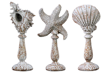 UTC39900-AST Polyresin Aquatic Figurines on Stand Assortment of Three (Conch, Starfish, Clam) Washed Finish Rust Brown
