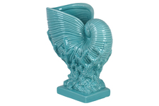 UTC40009 Ceramic Nautilus Seashell Sculpture on Coral Pedestal Gloss FInish Cyan