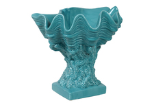 UTC40011 Ceramic Giant Clam Seashell Valve Sculpture on Coral Pedestal Gloss FInish Cyan