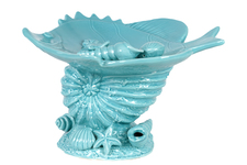 UTC40017 Ceramic Marine Life Sculpture Platter on Nautilus Seashell Pedestal Gloss FInish Cyan