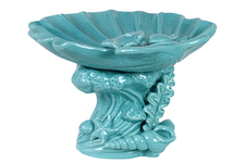 UTC40019 Ceramic Giant Clam Seashell Sculpture Platter on Marine Life Pedestal Gloss FInish Cyan