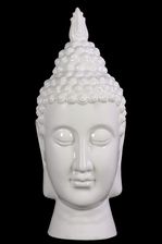 UTC40027 Ceramic Buddha Head with Pointed Ushnisha and Elongated Face Gloss Finish White