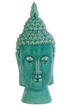 UTC40028 Ceramic Buddha Head with Pointed Ushnisha and Elongated Face Gloss Finish Turquoise