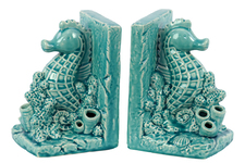 UTC40045 Ceramic Sea Horse on Corals Bookend on Base Set of Two Gloss Finish Turquoise