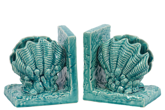 UTC40049 Ceramic Giant Clam Seashell Bookend on Base Gloss Finish Turquoise
