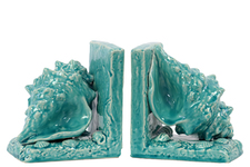 UTC40053 Ceramic Conch Seashell Bookend on Base Set of Two Gloss Finish Turquoise
