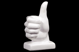 UTC40057 Ceramic Thumbs-up Hand Sign Sculpture on Base Gloss Finish White