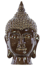 UTC40092 Ceramic Buddha Head with Pointed Ushnisha Gloss Finish Dark Espresso Brown
