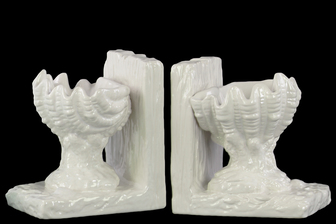 UTC40094-AST Ceramic Open Valve Clam Seashell on Base Bookend Assortment of Two Gloss Finish White