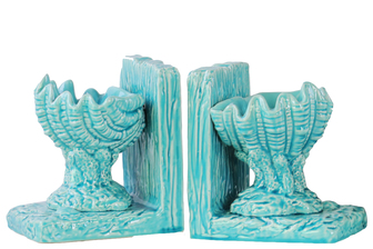 UTC40095-AST Ceramic Open Valve Clam Seashell on Base Bookend Assortment of Two Gloss Finish Blue