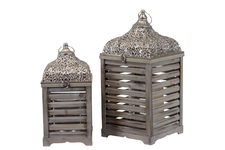 UTC40119 Wood Square Lantern with Pierced Metal Top Set of Two Weathered Wood Finish Brown