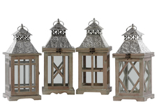 UTC40166-AST Wood Square Lantern with Silver Pierced Metal Top, Ring Hanger and Glass Windows Assortment of Four Stained Wood Finish Brown