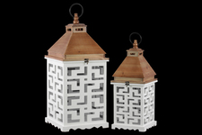 UTC40179 Wood Square Lantern with Lattice Design Body Set of Two Coated Finish White