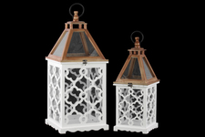 UTC40180 Wood Square Lantern with Lattice Design Body and Glass Top Set of Two Coated Finish White