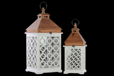 UTC40181 Wood Square Lantern with Lattice Design Body and Pierced Metal Top Set of Two Coated Finish White