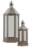 UTC40183 Wood Hexagonal Lantern with Pierced Metal Top, Metal Ring Handle and Glass Sides Set of Two Natural Wood Finish Sienna Brown