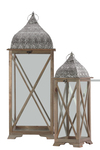 UTC40185 Wood Square Lantern with Pierced Metal Top, Metal Ring Handle and Glass Sides Set of Two Natural Wood Finish Sienna Brown