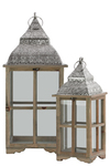 UTC40186 Wood Square Lantern with Pierced Metal Top, Metal Ring Handle and Glass Sides Set of Two Natural Wood Finish Sienna Brown