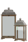 UTC40187 Wood Lantern with Ring Hanger and Pierced Metal Top Set of Two Natural Wood Finish Brown