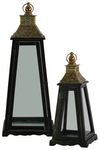 UTC40197 Wood Pyramidal Lantern with Gold Floral Design Pierced Metal Top and Ring Handle Set of Two Coated Finish Black