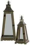 UTC40198 Wood Pyramidal Lantern with Silver Floral Design Pierced Metal Top and Ring Handle Set of Two Natural Wood Brown