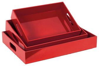 UTC40208 Wood Rectangular Serving Tray with Cutout Handles Set of Three Coated Finish Red
