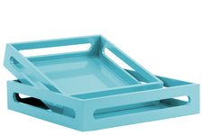 UTC40218 Wood Square Serving Tray with Cutout Handles Set of Two Coated Finish Light Blue