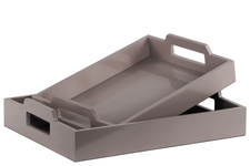 UTC40221 Wood Rectangular Serving Tray with Cutout Handles Set of Two Coated Finish Gray