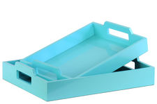 UTC40222 Wood Rectangular Serving Tray with Cutout Handles Set of Two Coated Finish Light Blue