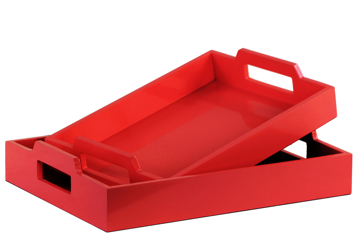 UTC40223 Wood Rectangular Serving Tray with Cutout Handles Set of Two Coated Finish Red