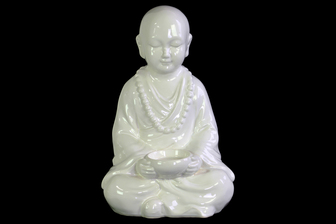 UTC40605 Ceramic Meditating Buddhist Acolyte Figurine Holding a Basin Tealight Candle Holder Gloss Finish White