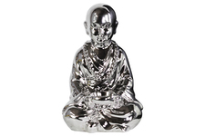 UTC40606 Ceramic Meditating Buddhist Acolyte Figurine Holding a Basin Tealight Candle Holder Polished Chrome Finish Silver