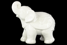 UTC40611 Ceramic Standing Trumpeting Ceremonial Elephant Figurine Gloss Finish White