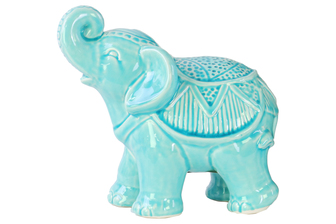 UTC40612 Ceramic Standing Trumpeting Ceremonial Elephant Figurine Gloss Finish Blue