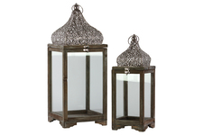 UTC40712 Wood Lantern with Pierced Metal Top and Ring Hanger Set of Two Natural Wood Finish Brown