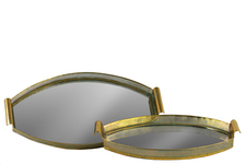 UTC40714 Metal Oval Tray with Pierced Metal Frame, Mirror Surface and Handle Set of Two Electroplated Finish Gold