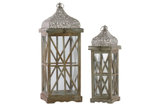 UTC40732 Wood Square Lantern with Silver Pierced Metal Top, Ring Handle, and Criss Cross Design Body Set of Two Natural Wood Finish Brown