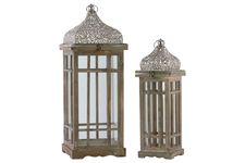 UTC40733 Wood Square Lantern with Silver Pierced Metal Top, Ring Handle, and Window Pane Design Body Set of Two Natural Wood Finish Brown