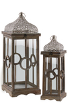 UTC40756 Wood Square Lantern with Silver Pierced Metal Top, Ring Handle, and Center Circle Design Body Set of Two Natural Wood Finish Brown