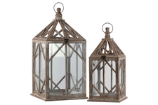 UTC40757 Wood Square Lantern with Ring Hanger and Diamond Design Body Set of Two Natural Wood Finish Brown