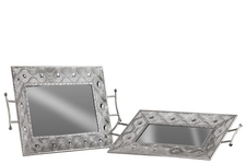 UTC40764 Metal Rectangular Tray with Mirror Surface, Pierced Metal Design Sides and 2 Handles Set of Two Polished Chrome Finish Silver